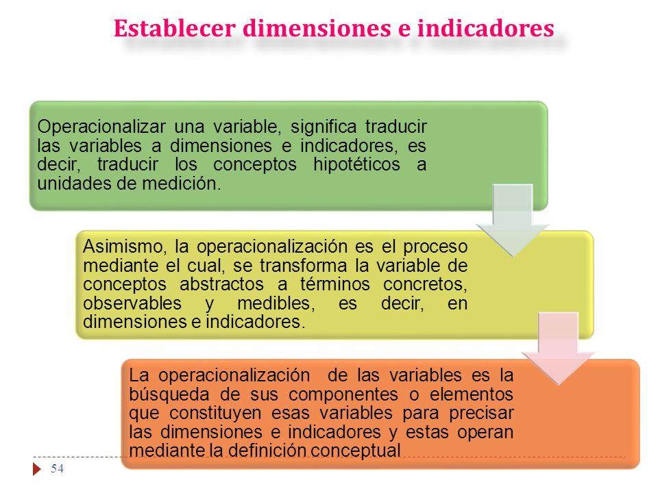 Establecer dimensiones e indicadores 54