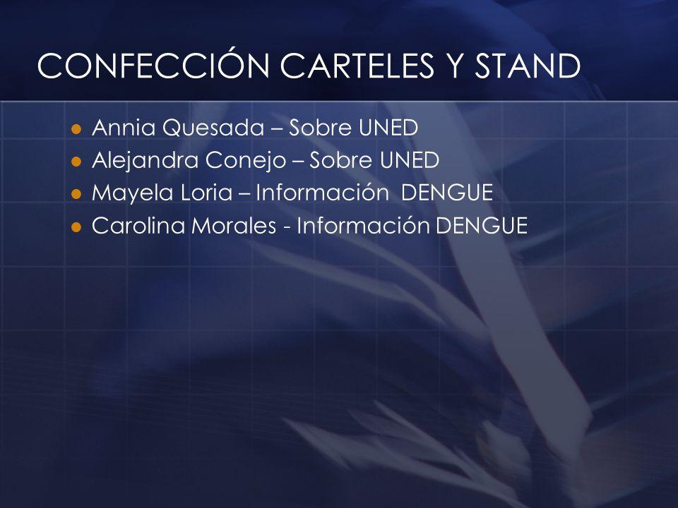 CONFECCIÓN CARTELES Y STAND Annia Quesada – Sobre UNED Alejandra Conejo – Sobre UNED Mayela Loria – Información DENGUE Carolina Morales - Información