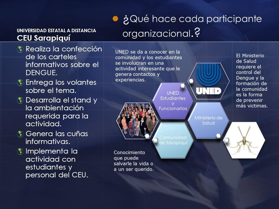 UNIVERSIDAD ESTATAL A DISTANCIA CEU Sarapiquí ¿ Qué hace cada participante organizacional.? Realiza la confección de los carteles informativos sobre e