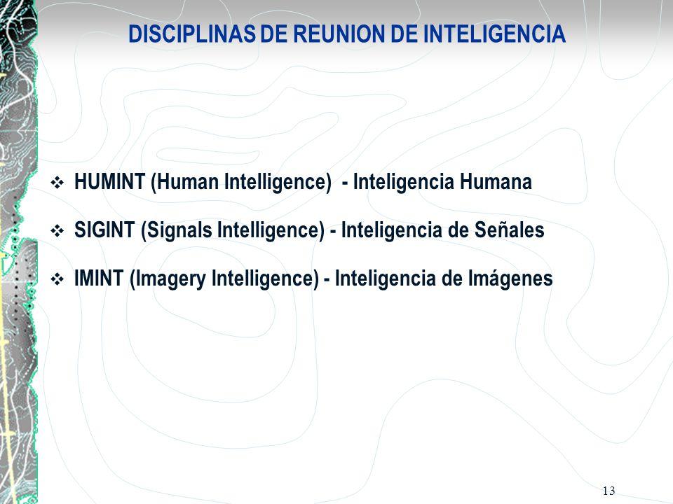 13 DISCIPLINAS DE REUNION DE INTELIGENCIA HUMINT (Human Intelligence) - Inteligencia Humana SIGINT (Signals Intelligence) - Inteligencia de Señales IM