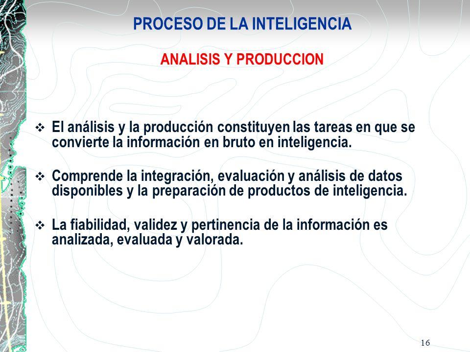 16 PROCESO DE LA INTELIGENCIA ANALISIS Y PRODUCCION El análisis y la producción constituyen las tareas en que se convierte la información en bruto en