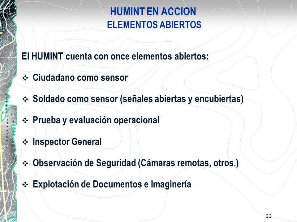 22 HUMINT EN ACCION ELEMENTOS ABIERTOS El HUMINT cuenta con once elementos abiertos: Ciudadano como sensor Soldado como sensor (señales abiertas y enc