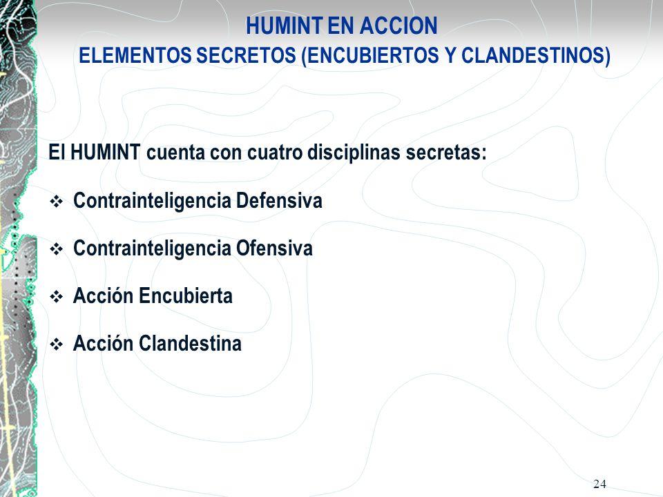 24 HUMINT EN ACCION ELEMENTOS SECRETOS (ENCUBIERTOS Y CLANDESTINOS) El HUMINT cuenta con cuatro disciplinas secretas: Contrainteligencia Defensiva Con