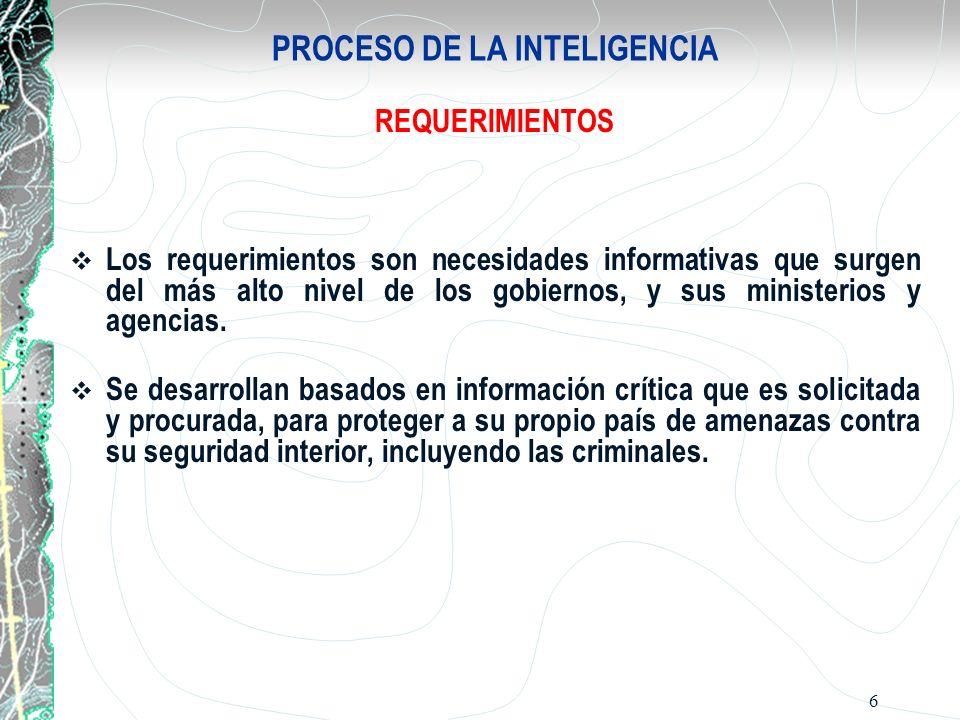 7 PROCESO DE LA INTELIGENCIA PLANEAMIENTO Y DIRECCION El planeamiento y la dirección implica la conducción de todo el proceso de la inteligencia.