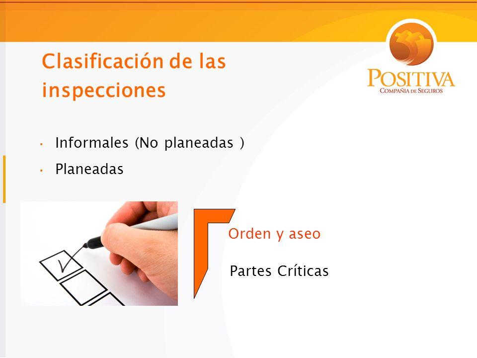 Informales (No planeadas ) Planeadas Clasificación de las inspecciones Orden y aseo Partes Críticas