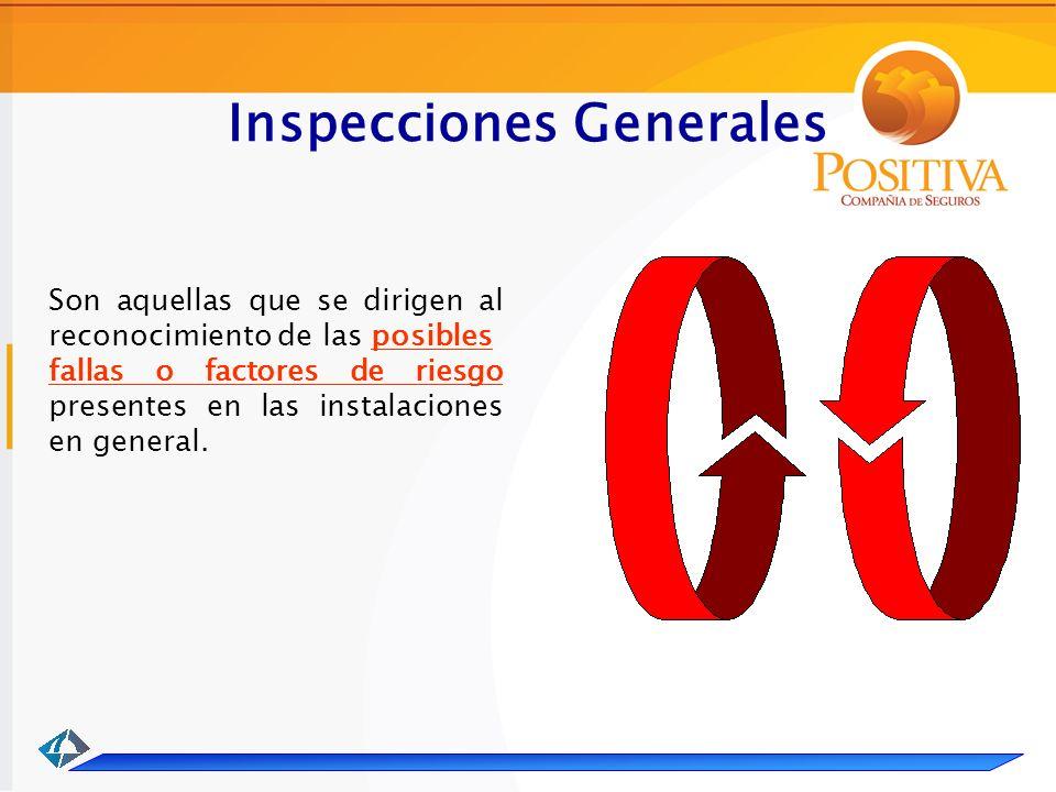 Inspecciones Generales Son aquellas que se dirigen al reconocimiento de las posibles fallas o factores de riesgo presentes en las instalaciones en general.