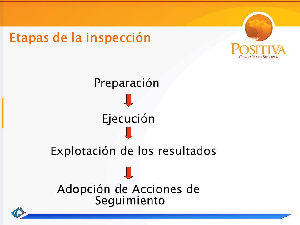 Preparación Ejecución Explotación de los resultados Adopción de Acciones de Seguimiento Etapas de la inspección