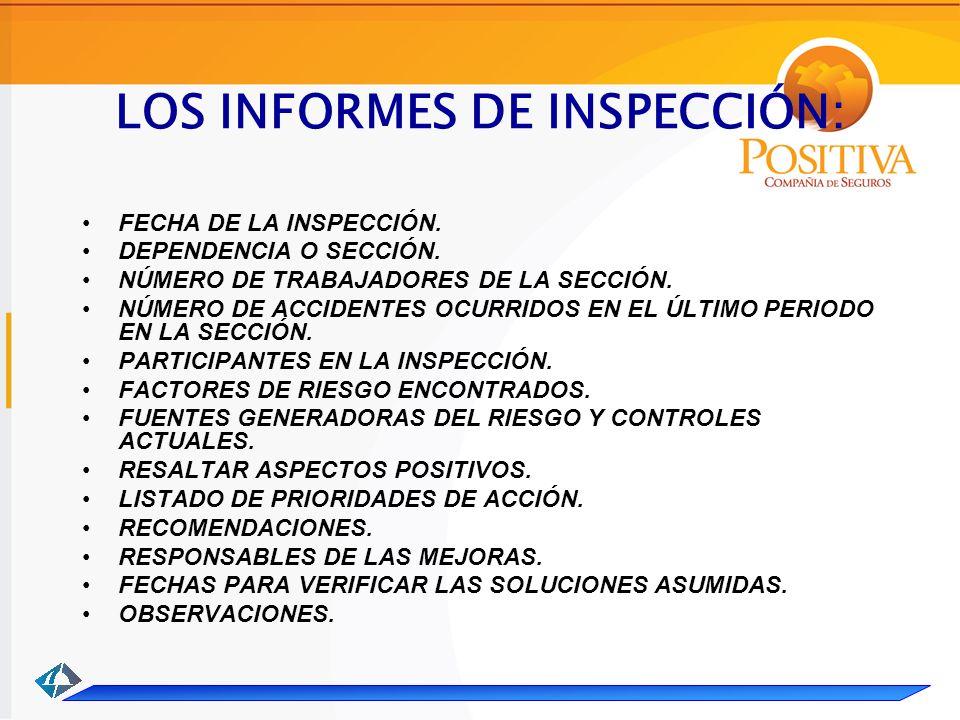 LOS INFORMES DE INSPECCIÓN: FECHA DE LA INSPECCIÓN.