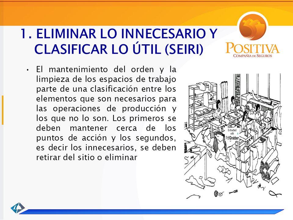 1. ELIMINAR LO INNECESARIO Y CLASIFICAR LO ÚTIL (SEIRI) El mantenimiento del orden y la limpieza de los espacios de trabajo parte de una clasificación
