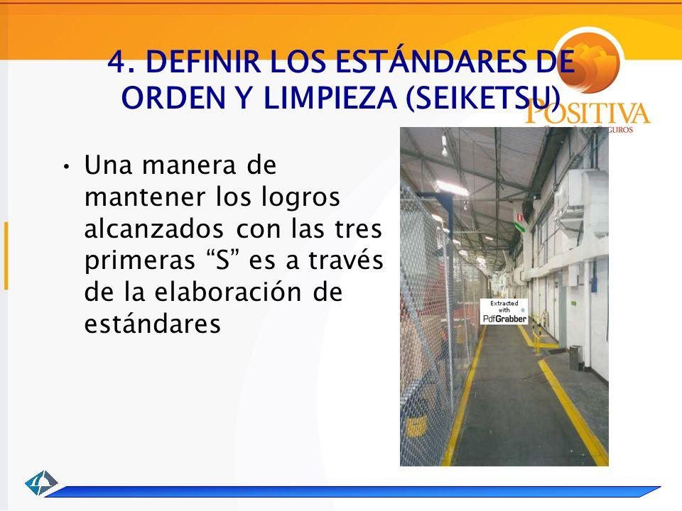 4. DEFINIR LOS ESTÁNDARES DE ORDEN Y LIMPIEZA (SEIKETSU) Una manera de mantener los logros alcanzados con las tres primeras S es a través de la elabor