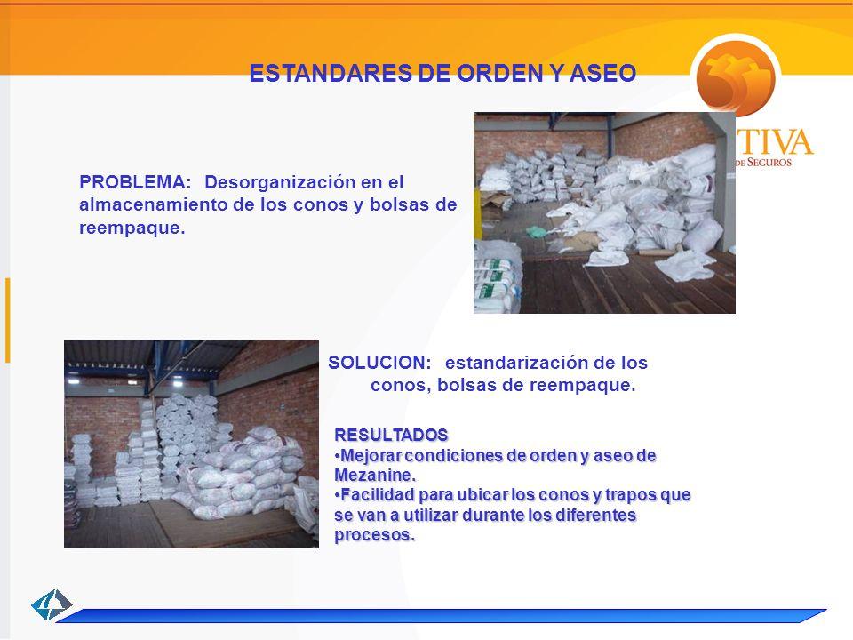 PROBLEMA: Desorganización en el almacenamiento de los conos y bolsas de reempaque.