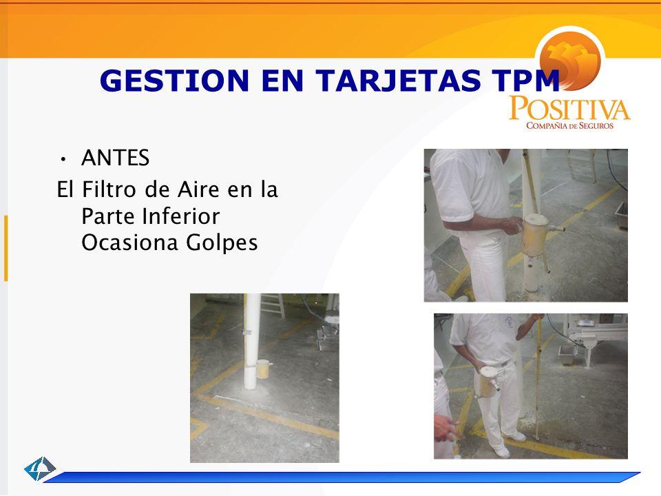 GESTION EN TARJETAS TPM ANTES El Filtro de Aire en la Parte Inferior Ocasiona Golpes