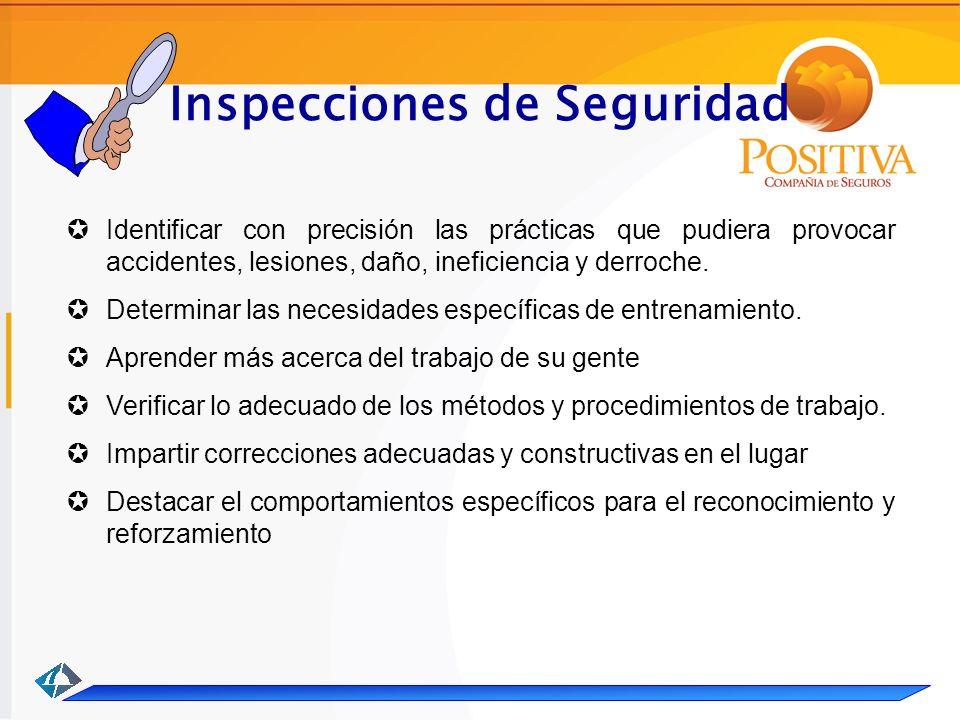 Inspecciones de Seguridad Identificar con precisión las prácticas que pudiera provocar accidentes, lesiones, daño, ineficiencia y derroche.
