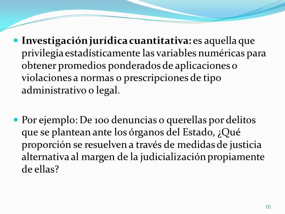 Investigación jurídica cuantitativa: es aquella que privilegia estadísticamente las variables numéricas para obtener promedios ponderados de aplicacio