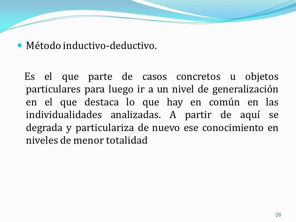 Método inductivo-deductivo. Es el que parte de casos concretos u objetos particulares para luego ir a un nivel de generalización en el que destaca lo