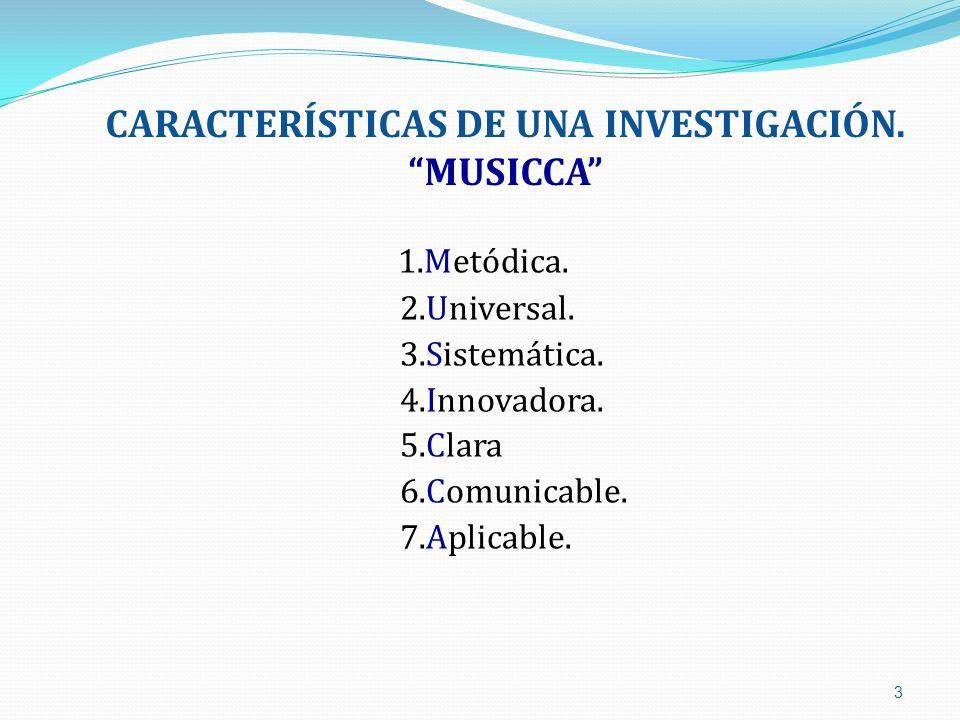 CARACTERÍSTICAS DE UNA INVESTIGACIÓN. MUSICCA 1.Metódica. 2.Universal. 3.Sistemática. 4.Innovadora. 5.Clara 6.Comunicable. 7.Aplicable. 3