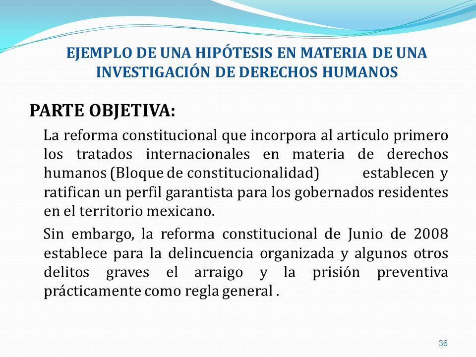 EJEMPLO DE UNA HIPÓTESIS EN MATERIA DE UNA INVESTIGACIÓN DE DERECHOS HUMANOS PARTE OBJETIVA: La reforma constitucional que incorpora al articulo prime