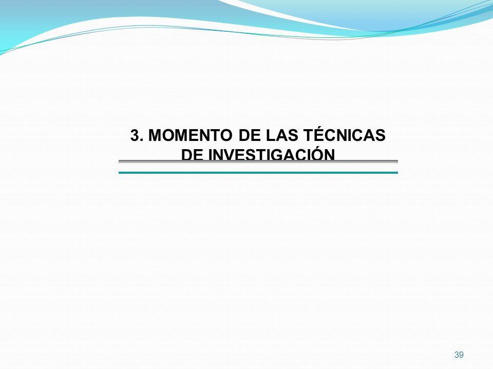 39 3. MOMENTO DE LAS TÉCNICAS DE INVESTIGACIÓN