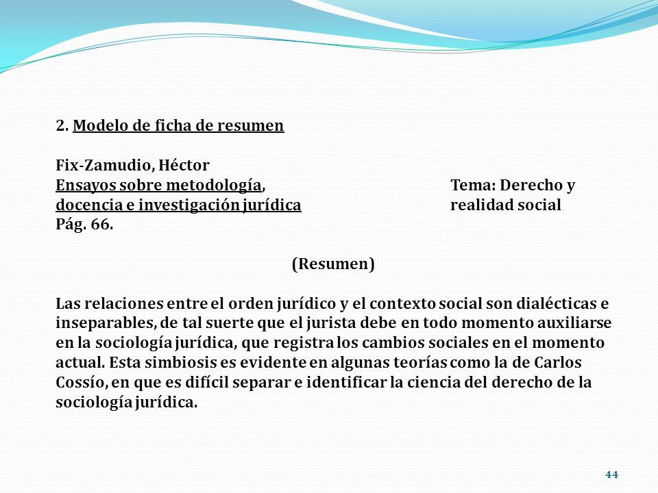 44 2. Modelo de ficha de resumen Fix-Zamudio, Héctor Ensayos sobre metodología,Tema: Derecho y docencia e investigación jurídicarealidad social Pág. 6