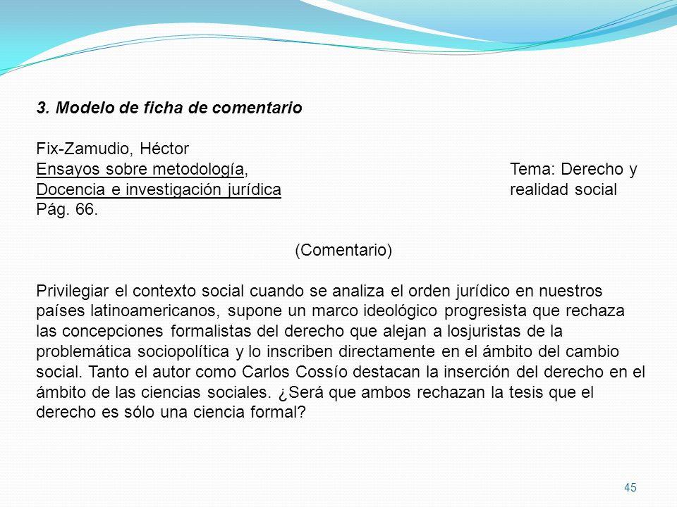 45 3. Modelo de ficha de comentario Fix-Zamudio, Héctor Ensayos sobre metodología, Tema: Derecho y Docencia e investigación jurídicarealidad social Pá