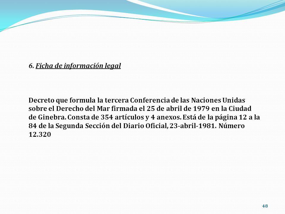 48 6. Ficha de información legal Decreto que formula la tercera Conferencia de las Naciones Unidas sobre el Derecho del Mar firmada el 25 de abril de