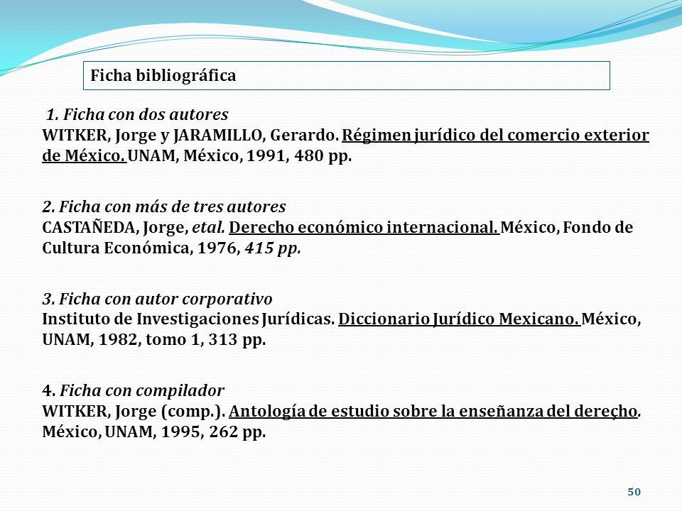 50 Ficha bibliográfica 1. Ficha con dos autores WITKER, Jorge y JARAMILLO, Gerardo. Régimen jurídico del comercio exterior de México. UNAM, México, 19