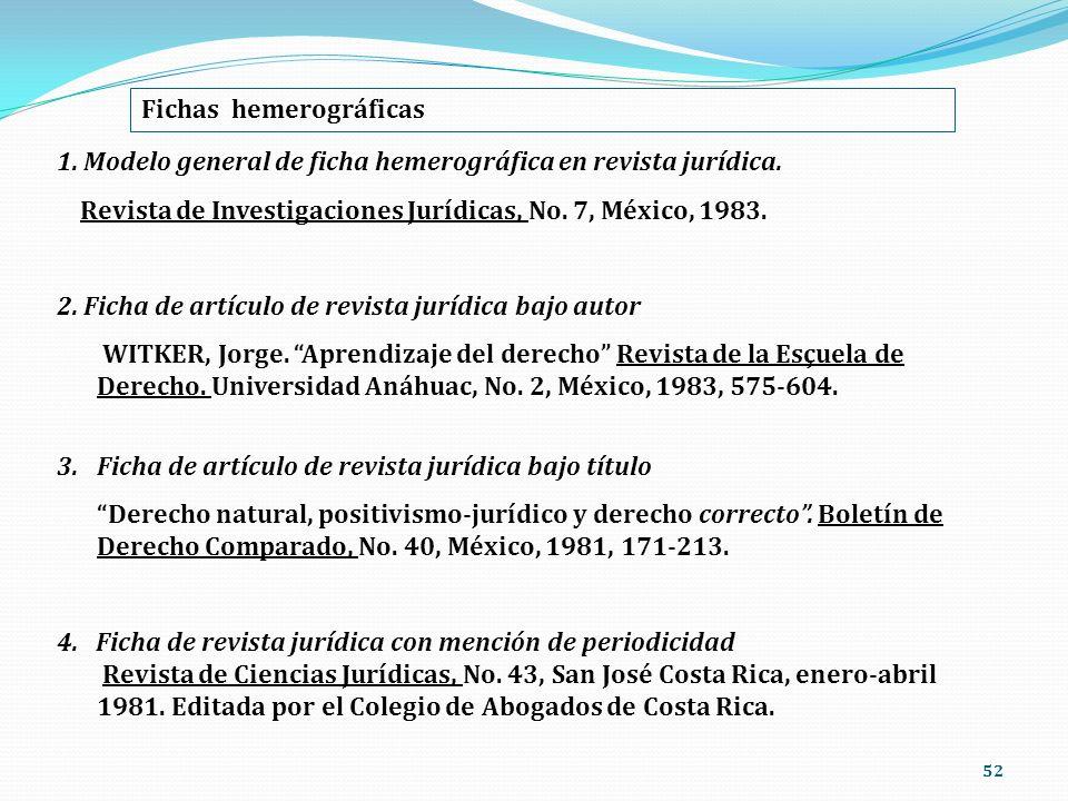 52 Fichas hemerográficas 1. Modelo general de ficha hemerográfica en revista jurídica. Revista de Investigaciones Jurídicas, No. 7, México, 1983. 2. F