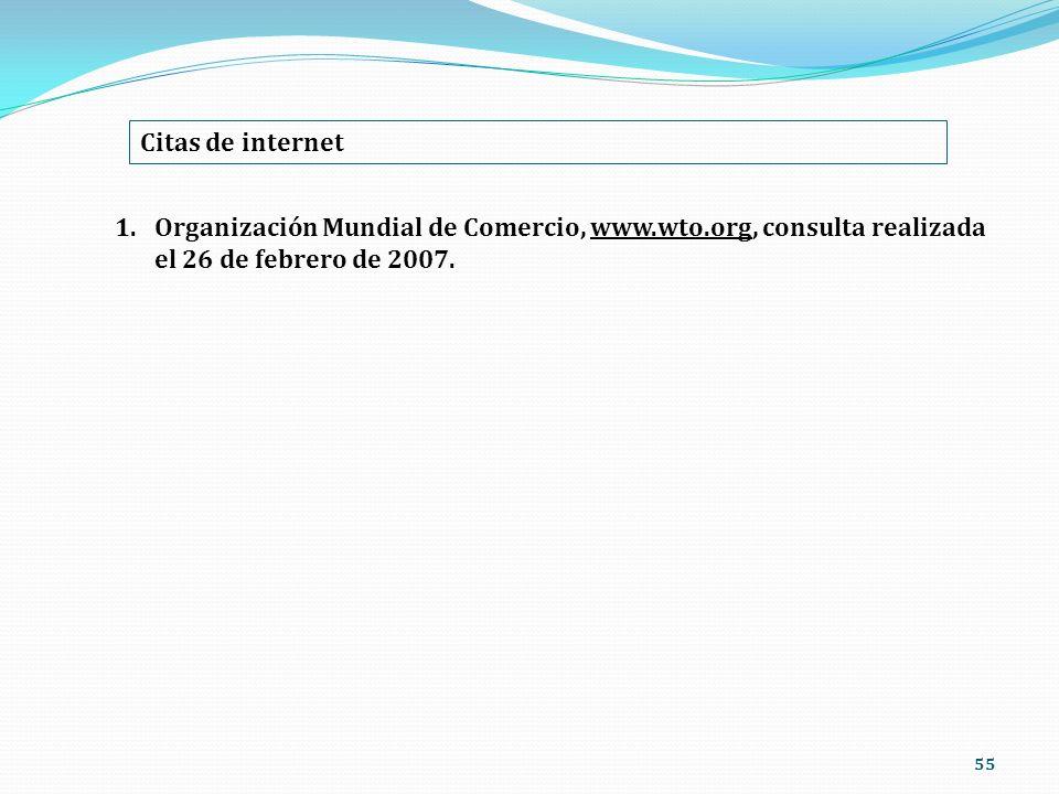 55 Citas de internet 1.Organización Mundial de Comercio, www.wto.org, consulta realizada el 26 de febrero de 2007.