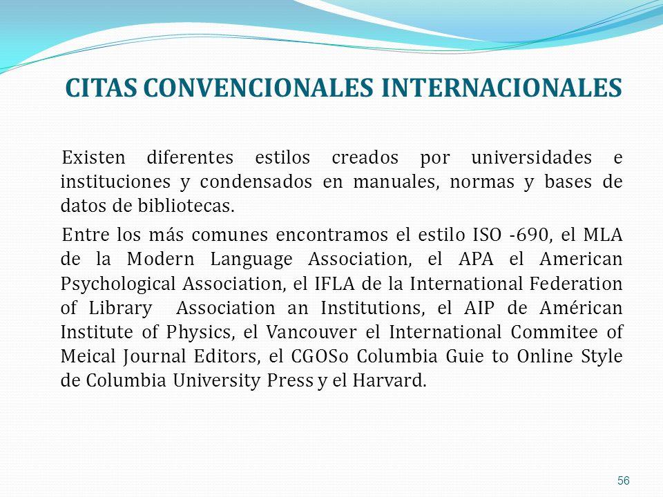 CITAS CONVENCIONALES INTERNACIONALES Existen diferentes estilos creados por universidades e instituciones y condensados en manuales, normas y bases de