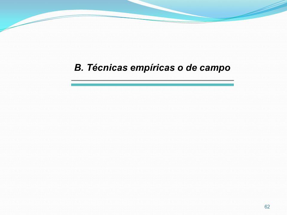 62 B. Técnicas empíricas o de campo