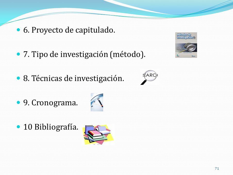 6. Proyecto de capitulado. 7. Tipo de investigación (método). 8. Técnicas de investigación. 9. Cronograma. 10 Bibliografía. 71