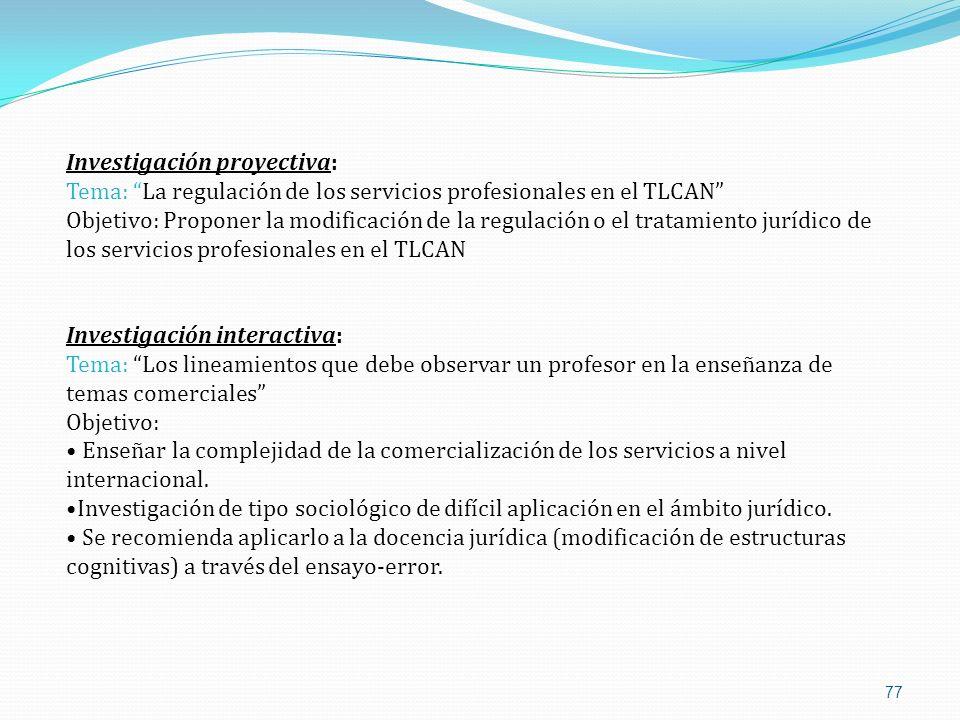 77 Investigación proyectiva: Tema: La regulación de los servicios profesionales en el TLCAN Objetivo: Proponer la modificación de la regulación o el t