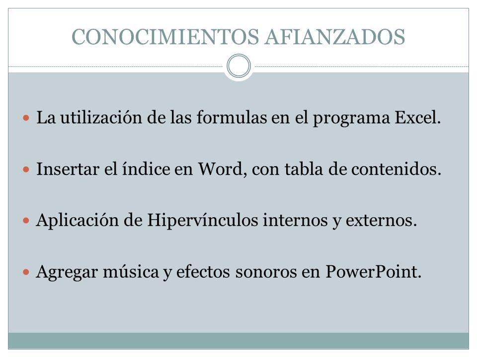 CONOCIMIENTOS AFIANZADOS La utilización de las formulas en el programa Excel. Insertar el índice en Word, con tabla de contenidos. Aplicación de Hiper