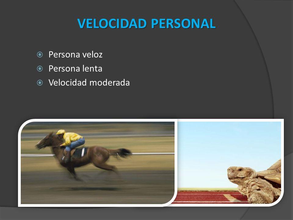 Persona veloz Persona lenta Velocidad moderada VELOCIDAD PERSONAL