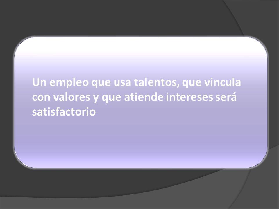 Un empleo que usa talentos, que vincula con valores y que atiende intereses será satisfactorio