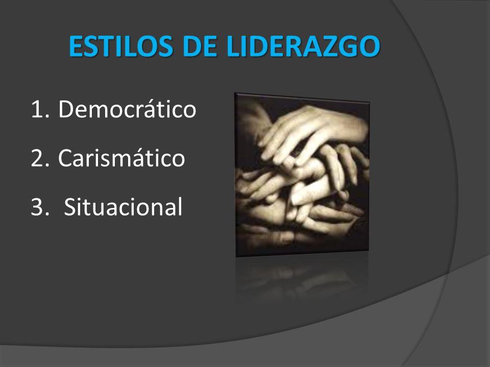 1.Democrático 2.Carismático 3. Situacional ESTILOS DE LIDERAZGO