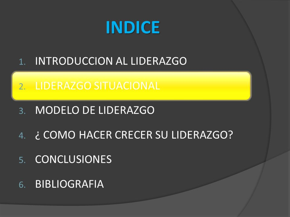 INDICE 1.INTRODUCCION AL LIDERAZGO 2. LIDERAZGO SITUACIONAL 3.