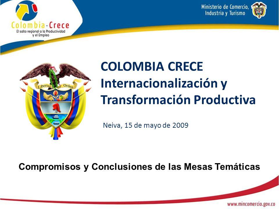 COLOMBIA CRECE Internacionalización y Transformación Productiva Neiva, 15 de mayo de 2009 Compromisos y Conclusiones de las Mesas Temáticas
