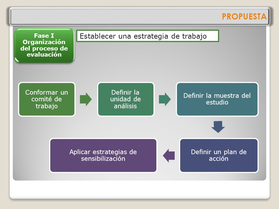 PROPUESTA Fase I Organización del proceso de evaluación Fase II Levantamiento de información Fase III Sistematización de la información Fase IV Valora