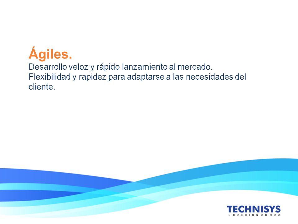 Ágiles. Desarrollo veloz y rápido lanzamiento al mercado. Flexibilidad y rapidez para adaptarse a las necesidades del cliente.