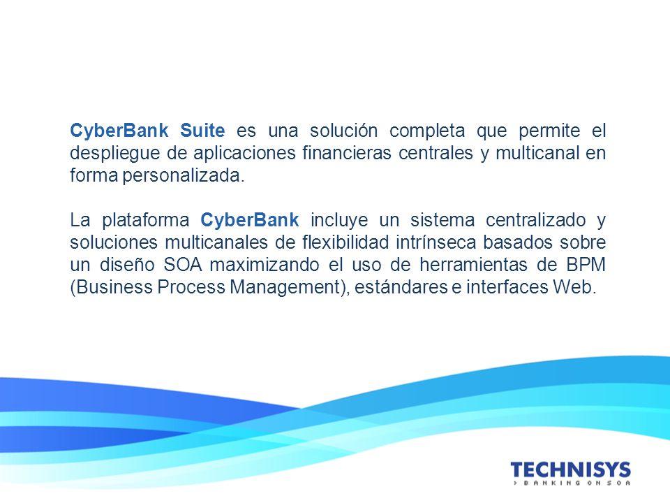CyberBank Suite es una solución completa que permite el despliegue de aplicaciones financieras centrales y multicanal en forma personalizada. La plata