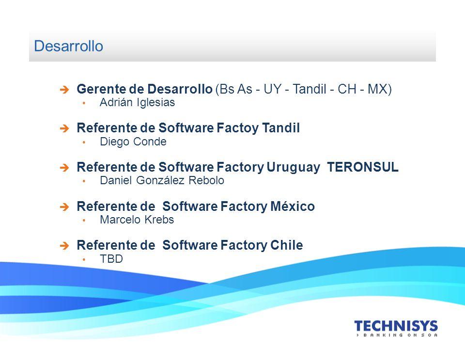 Desarrollo Gerente de Desarrollo (Bs As - UY - Tandil - CH - MX) Adrián Iglesias Referente de Software Factoy Tandil Diego Conde Referente de Software