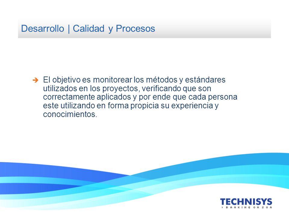 Desarrollo | Calidad y Procesos El objetivo es monitorear los métodos y estándares utilizados en los proyectos, verificando que son correctamente apli
