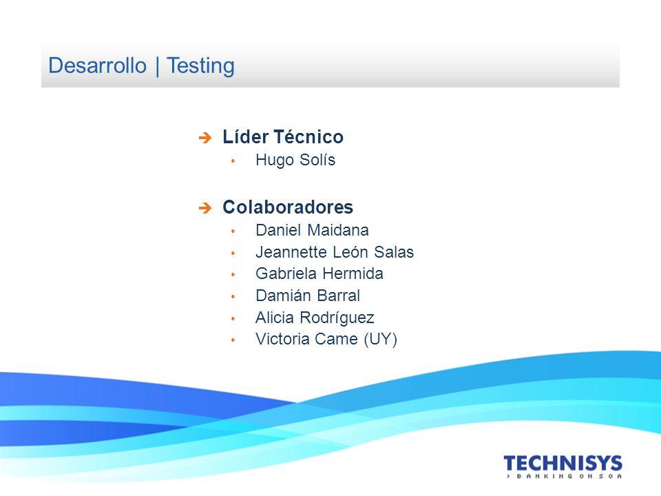 Desarrollo | Testing Líder Técnico Hugo Solís Colaboradores Daniel Maidana Jeannette León Salas Gabriela Hermida Damián Barral Alicia Rodríguez Victor