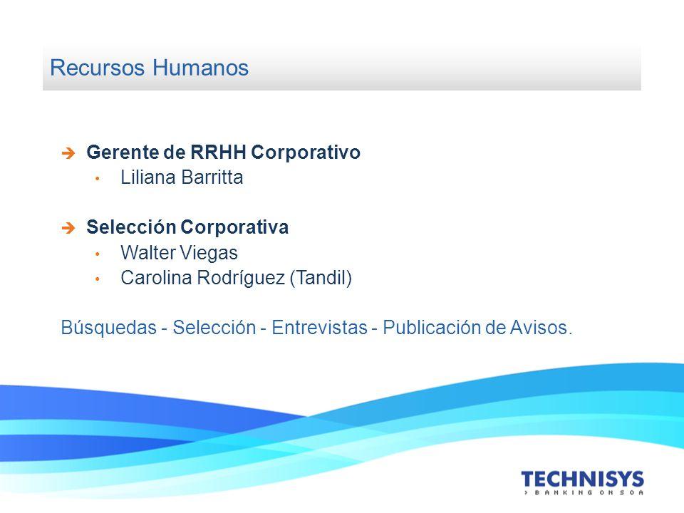 Recursos Humanos Gerente de RRHH Corporativo Liliana Barritta Selección Corporativa Walter Viegas Carolina Rodríguez (Tandil) Búsquedas - Selección -