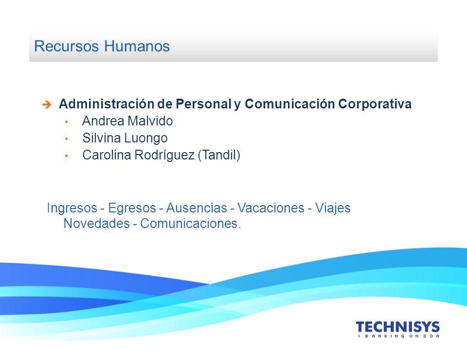 Recursos Humanos Administración de Personal y Comunicación Corporativa Andrea Malvido Silvina Luongo Carolina Rodríguez (Tandil) Ingresos - Egresos -