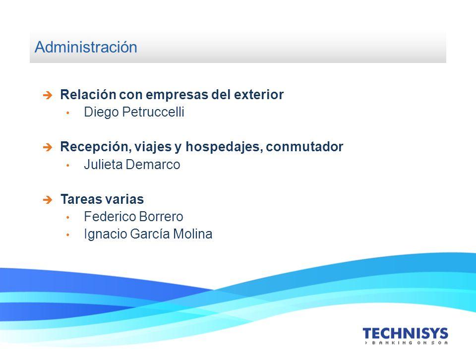 Administración Relación con empresas del exterior Diego Petruccelli Recepción, viajes y hospedajes, conmutador Julieta Demarco Tareas varias Federico