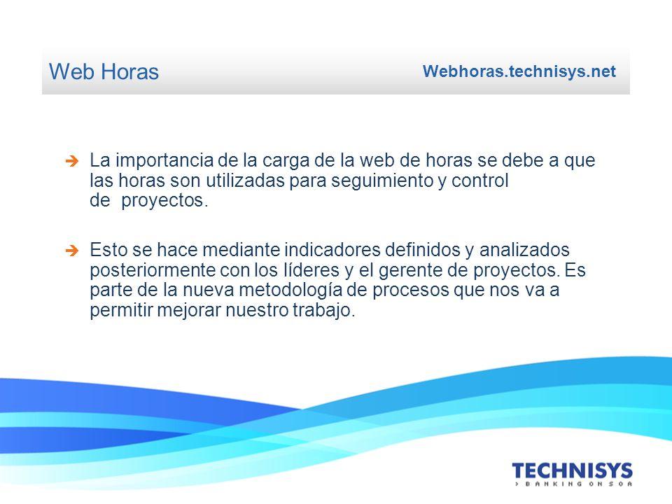 Web Horas Webhoras.technisys.net La importancia de la carga de la web de horas se debe a que las horas son utilizadas para seguimiento y control de pr