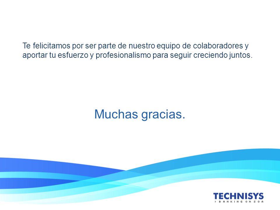 Te felicitamos por ser parte de nuestro equipo de colaboradores y aportar tu esfuerzo y profesionalismo para seguir creciendo juntos. Muchas gracias.