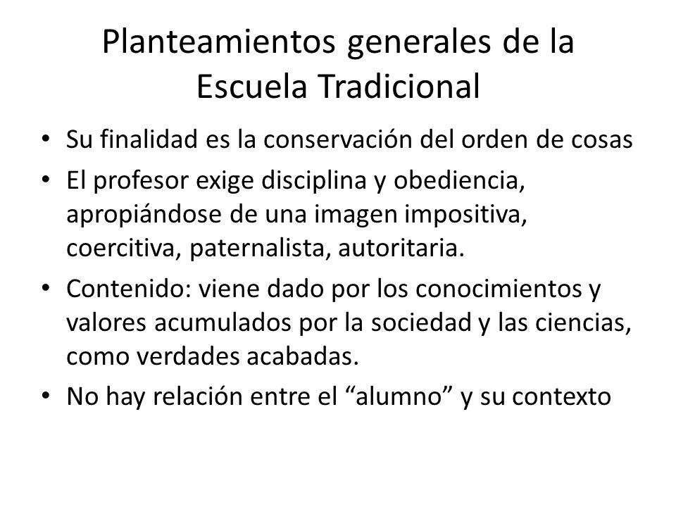 Planteamientos generales de la Escuela Tradicional Su finalidad es la conservación del orden de cosas El profesor exige disciplina y obediencia, aprop